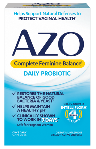 AZO Complete Feminine Balance Daily Probiotic front of package